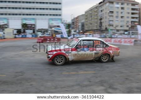 KOCAELI, TURKEY - AUGUST 22, 2015: Hannu Pulkkinen with Ford Escort MK2 of Bonus Unifree Parkur Racing Team in special stage of Kocaeli Rally 2015 - stock photo