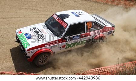 KOCAELI, TURKEY - JUNE 12, 2016: Engin Kap drives Ford Escort MK2 of Bonus Unifree Parkur Racing Team in Kocaeli Rally - stock photo
