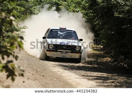 KOCAELI, TURKEY - JUNE 11, 2016: Kemal Gamgam drives Ford Escort MK2 in Kocaeli Rally - stock photo