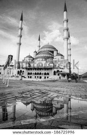 Kocatepe Mosque after rain - Ankara, Turkey - stock photo
