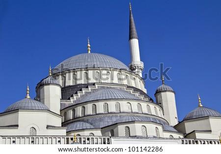 Kocatepe Mosque - details in Ankara, the capital city of Turkey - stock photo