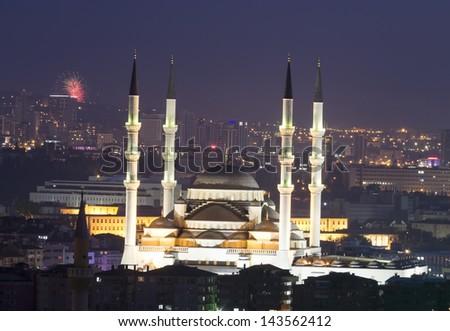 Kocatepe Mosque - Night, Ankara,Turkey - stock photo