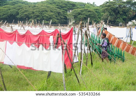 Little Cute Girl Doing Laundry Small Stock Photo 173009396 ...