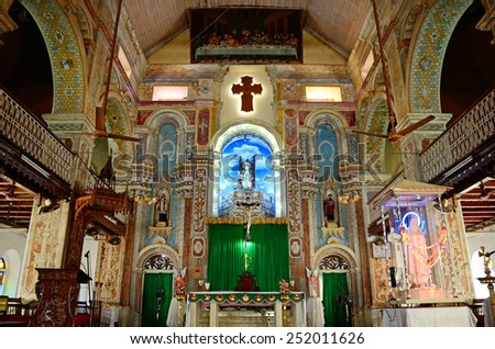 KOCHI, INDIA - JANUARY 31, 2015: Santa Cruz Cathedral Basilica was built originally by the Portuguese in 1506 and elevated to a Cathedral in 1558. - stock photo