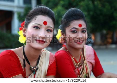 KOCHI, KERALA - FEB 26: Traditional folk artists from Assam participate in the International folk art festival held on Feb 26, 2014 at Kochi, Kerala. - stock photo