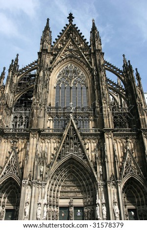 Koeln cathedral of Saint Peter and Mary taken with extremely wide angle lens. Famous church. Seat of Archbishop. UNESCO World Heritage Site. - stock photo