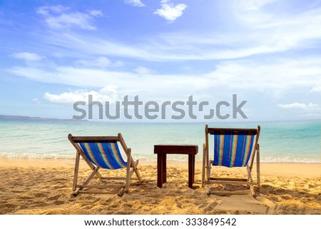 Koh Chang Island Beach with Sunbeds Vacation and Tourism concept.Thailand Sea