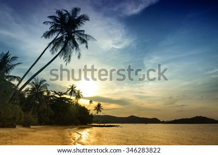 Koh Mak beach in Thailand. - stock photo