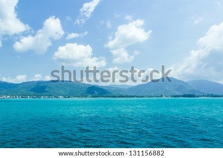 Koh Phangan islands view from a boat go to samui,Surat Thani Province,thailand - stock photo