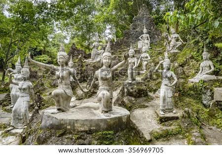 KOH SAMUI, THAILAND   DECEMBER 16,2015: Secret Buddha Garden (Heaven Garden