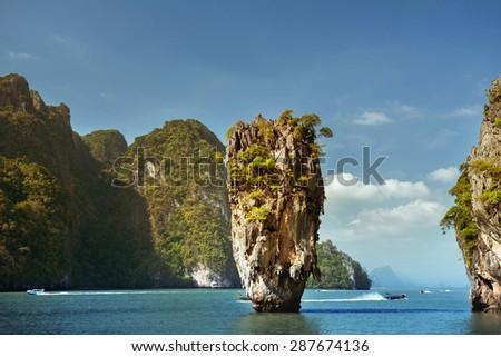 Koh Tapu. James bond island, Phang Nga province, Thailand - stock photo