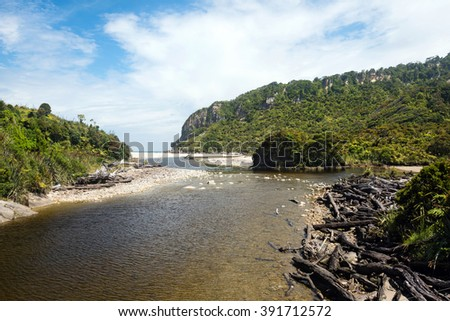 Kohaihai River Mouth, near Karamea, Westcoast, New Zeland - stock photo