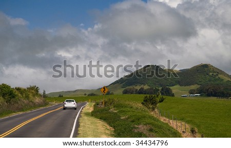 Kohala Mountain, on Hawaii Big Island Is known for it winding roads and cattle pastures. - stock photo
