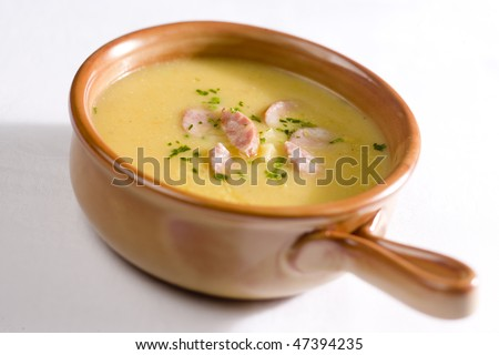 kohlrabi cream soup - stock photo