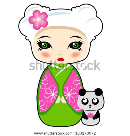 Kokeshi doll with panda toy: raster illustration - stock photo