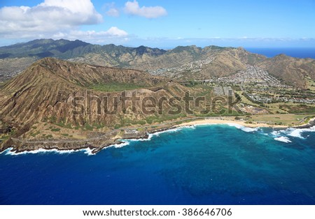 Koko Crater and Sandy Beach - view from helicopter - Oahu, Hawaii - stock photo
