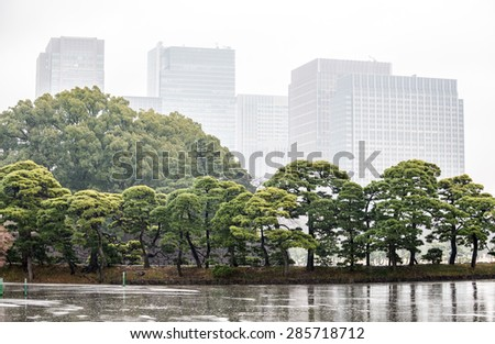 Kokyogaien National Garden seen from Imperial Palace in Tokyo, Japan - stock photo