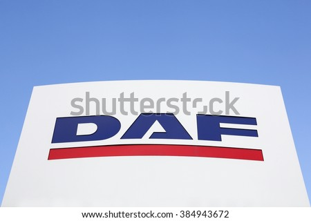 Kolding, Denmark - February 28, 2016: DAF Trucks is a Dutch truck manufacturing company and a division of Paccar group. Its headquarters and main plant are in Eindhoven