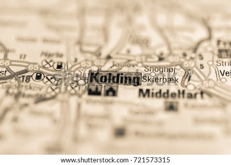 Kolding On Map Stock Photo 721573315 Shutterstock
