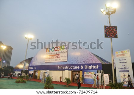 KOLKATA- FEBRUARY 20: A view of the exhibition place  during the Information and Communication Technology (ICT) conference and exhibition in Kolkata, India on February 20, 2011.