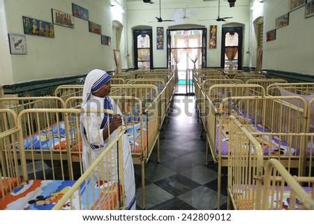 KOLKATA, INDIA - FEBRUARY 11: Shishu Bhavan, one of the houses established by Mother Teresa and run by the Missionaries of Charity in Kolkata, India on February 11, 2014. - stock photo