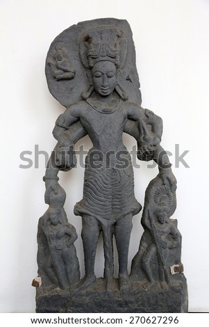 KOLKATA, INDIA - FEBRUARY 15: Vishnu, from 11th century found in Chaitanpur, Bardhaman, West Bengal now exposed in the Indian Museum in Kolkata, on February 15, 2014 - stock photo