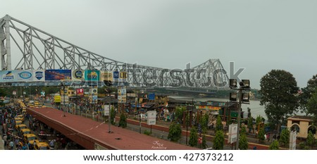 KOLKATA,INDIA - 22 May 2016 : The Howrah Bridge is currently the sixth-longest cantilever bridge  in the world.