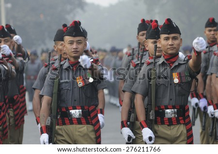 KOLKATA -JANUARY 19 : Members of The Eastern Frontier Rifles (EFR) which was founded in 18th Century marching during the Republic Day Parade preparation on January 19, 2015 in Kolkata, India.