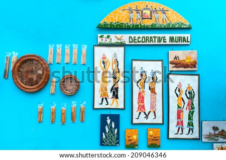 KOLKATA, WEST BENGAL , INDIA - DECEMBER 14TH 2013 : Murals, Artworks of handicraft, on display during the Handicraft Fair in Kolkata - the biggest handicrafts fair in Asia. - stock photo