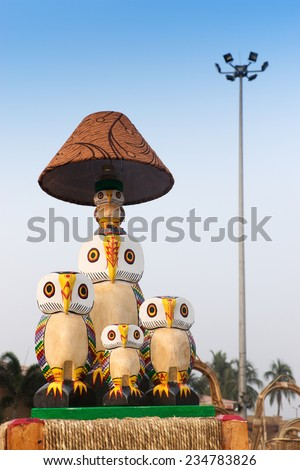 KOLKATA, WEST BENGAL , INDIA - NOVEMBER 23RD 2014 : Table lamp, Cane furniture, handicrafts on display during the Handicraft Fair in Kolkata - the biggest handicrafts fair in Asia. - stock photo