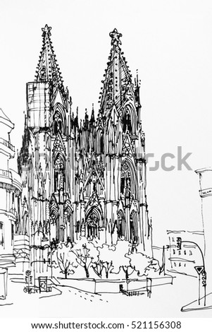 Koln Cologne Dome Gothic Church Speed Drawing Architectural Ink Sketch Black And White