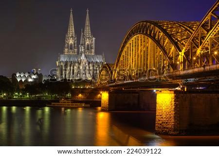 Koln old cityat night, Germany.  - stock photo