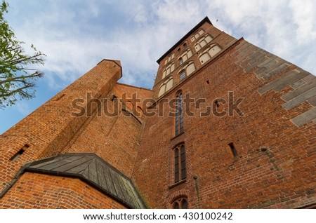 Kolobrzeg Cathedral Church wall, Poland - stock photo