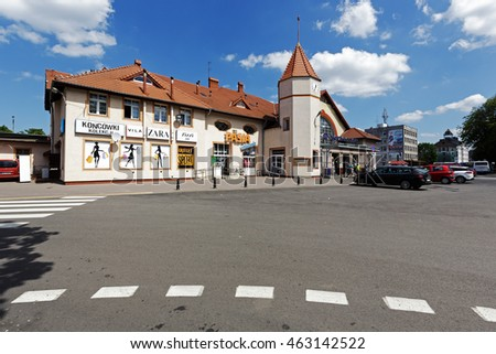 KOLOBRZEG, POLAND - JUNE 23, 2016: Railway station building that was officially opened on June 01, 1859. In the building they are established several retail points