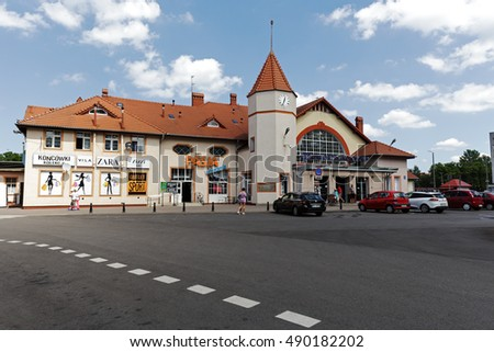 KOLOBRZEG, POLAND - JUNE 23, 2016: Railway station building which was officially opened in the year 1859. In the building they are established several retail points