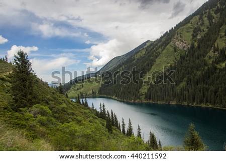 Kolsay Lake in Tien Shan mountain system, Kazakhstan - stock photo