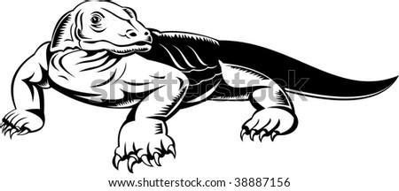 Komodo dragon done in woodcut style - stock photo