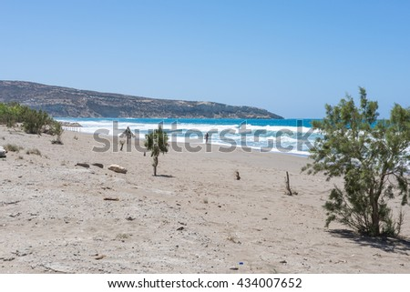 Komos beach in Kalamaki situated in the south-central of Crete. The village is close to the Ida mountains, the beach is on the west side between the Messera plain and Matala in the south - stock photo