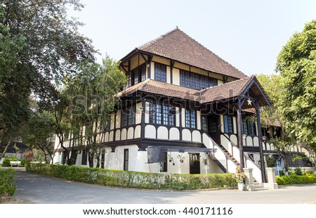 Kon Tum, Vietnam - Mar 28, 2016: Bishop building in the city of Kon Tum in the Central Highlands of Vietnam