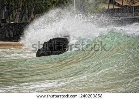 kona harbor sea waves in big island hawaii - stock photo