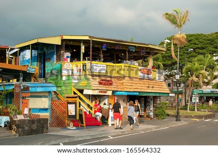 KONA, HAWAII - SEPTEMBER 6, 2011: Surfer´s restaurant in Kona on Big Island on September 6, 2011 in Kona, Usa. Kona is the center of commerce and of the tourist industry on West Hawai´i. - stock photo