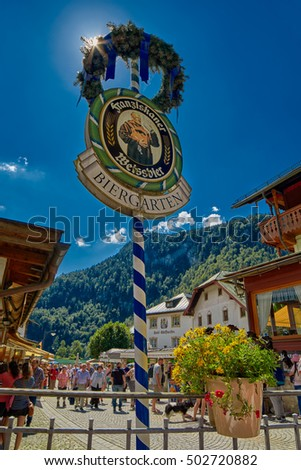 KONIGSEE, BAVARIA GERMANY - 10 Aug 2016: Konigsee Bavarian Village Beer Garden