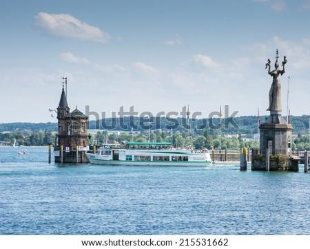 KONSTANZ, GERMANY - JUNE 16: The harbor of Konstanz, Germany on June 16, 2014. The historic town of Konstanz is located at Lake Constance, bordering Switzerland.  - stock photo