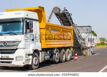 KONYA, TURKEY - JUNE 29, 2016: Cold milling machine for repair road