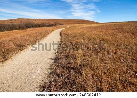 Konza Prairie is an 8,600-acre tallgrass prairie preserve located in the Flint Hills of northeastern Kansas. - stock photo
