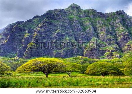 Koolau Mountains on the windward side of Oahu - stock photo