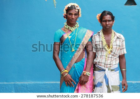 KOOVAGAM, INDIA - MAY 05: Unidentified transgenders who have participated in the marriage ritual during festival of transgenders held at Koothandavar temple on May 05, 2015 in Koovagam,Tamil Nadu. - stock photo
