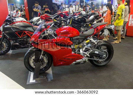 KORAT - DEC 7, 2014: Ducati Big Bike on display in The Mall Hall, Korat, Motorshow in Nakhon Ratchasima, Thailand on DECEMBER 7, 2014.