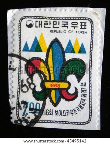 KOREA - CIRCA 1968: A stamp printed in Korea shows Lily-trefoil - the emblem of scouting organizations, devoted jamboree, circa 1968 - stock photo
