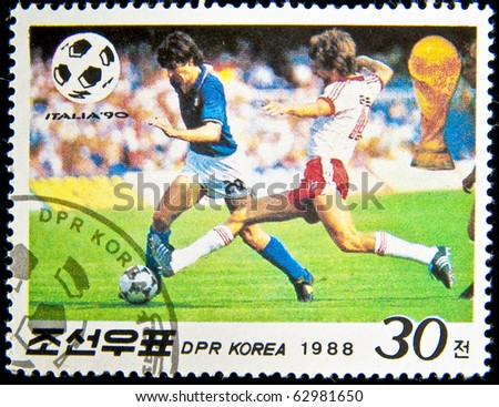 KOREA - CIRCA 1988: stamp printed by Korea, shows soccer championships, circa 1988.